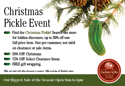 Christmas Pickle Sale at Carlisle Gifts