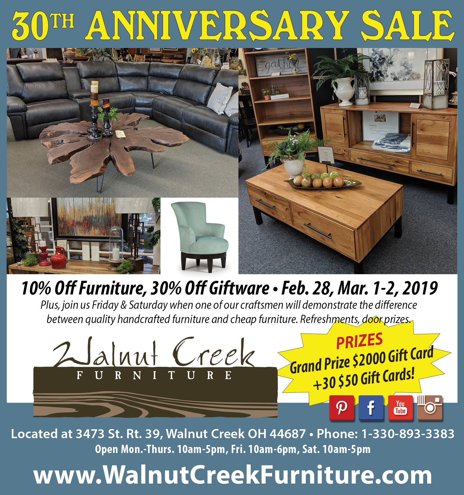 Walnut Creek Furniture 30th Anniversary Sale