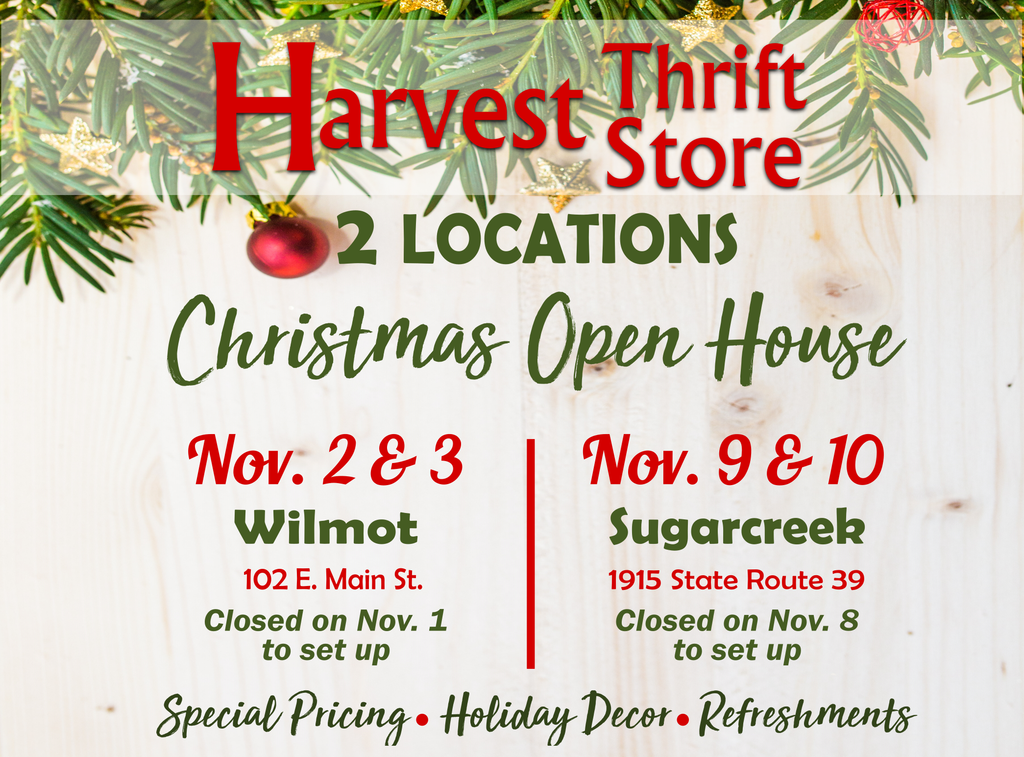 Harvest Thrift Store Christmas Open House