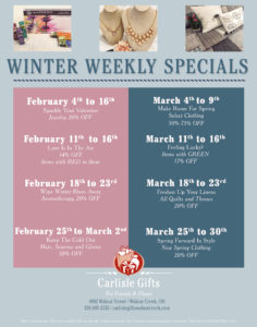 Carlisle Gifts' Winter Weekly Specials