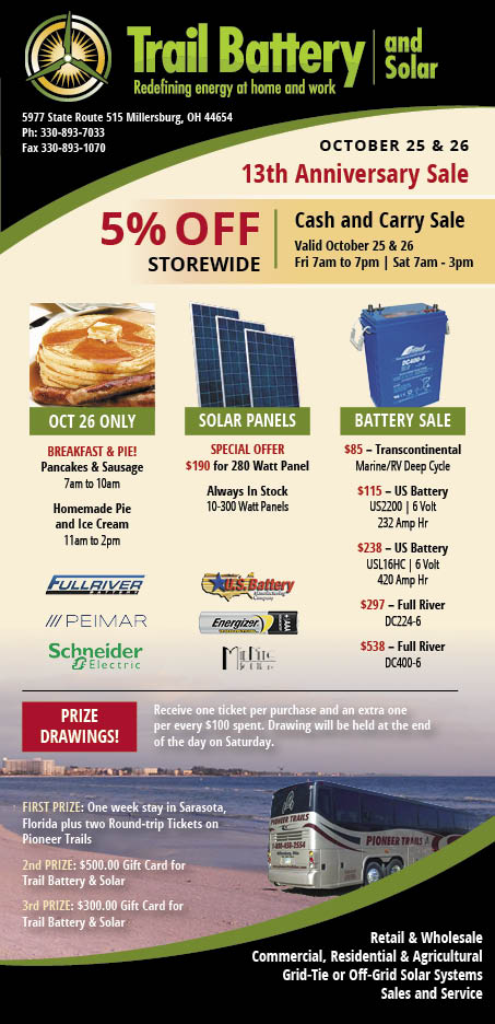 Trail Battery and Solar Anniversary Sale 2019